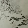 川合玉堂『古驛之雪』