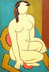熊谷守一「坐裸女」