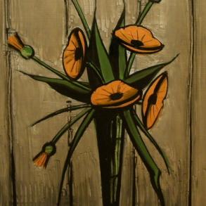 ベルナール・ビュッフェ「グラスときんせん花」