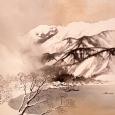 川合玉堂「雪志末久湖畔 」