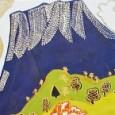 片岡球子「富士に牡丹」