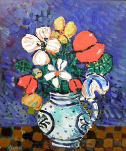 ポール・アイズピリ「青いバックの花」