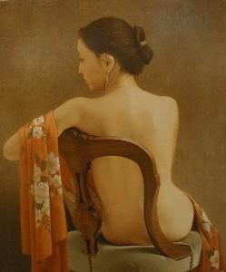森本草介「背凭れの裸婦」