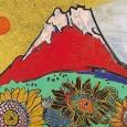 片岡球子「富士に献花 (ひまわり)」