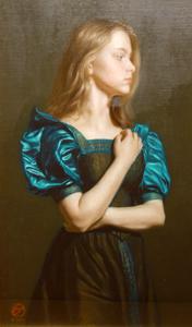 古吉弘「緑色のドレスの少女」 古吉弘