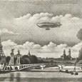 長谷川潔『アレキサンドル三世橋とフランス飛行船』