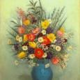 長谷川潔『青い花瓶に挿した草花』