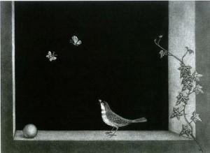 長谷川潔「小鳥と胡蝶」